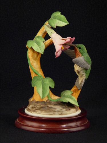 Andrea by Sadek Porcelain Ruby Throat HUMMINGBIRD Figurine 6059 - Base