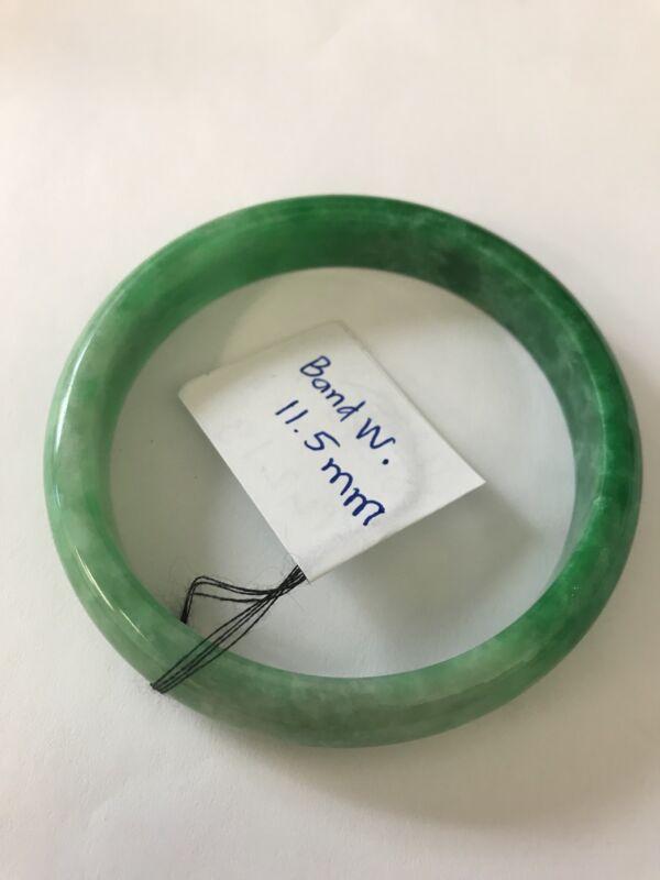 Vintage Translucent Natural Green Jadeite Jade Bangle Bracelet 59MM ID