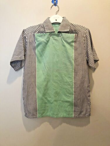 Vintage Shirt 1950s Youth Rockabilly Color block Green Grey Pullover