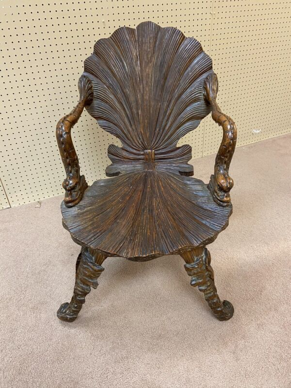 Rare Early 19th Century Italian Carved Grotto Fantasy Chair