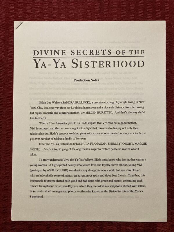 Divine Secrets Of The Ya-Ya Sisterhood Production Notes And Credits 2002