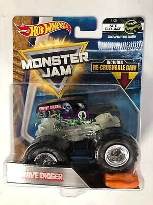 Hot Wheels Monster Jam GRAVE DIGGER NITE GLO CAGE 1/3 W/RE-CRUSHABLE CAR