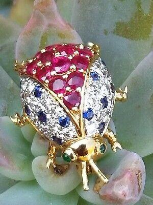 Estate Vintage 18k Yellow Gold Paved Diamond Ruby Sapphire Ladybug Brooch Pin Diamond Ruby Sapphire Brooch