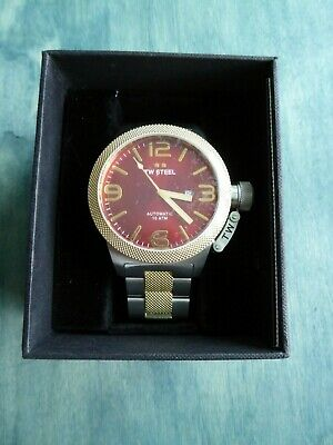 TW Steel CB76 Canteen Automatic 50 mm Red Dial w Two Tone Silver Gold Bracelet