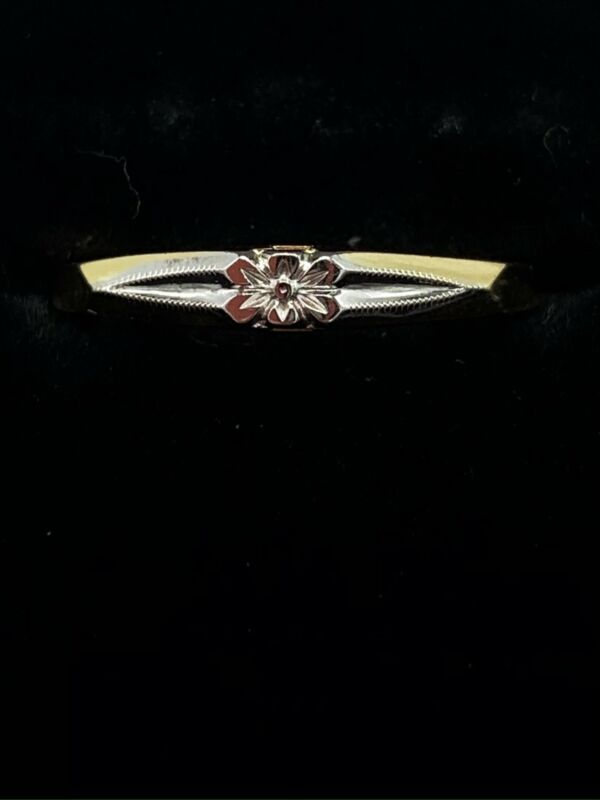 14K Yellow and White Gold Vintage Orange Blossom Wedding Band