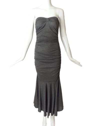 PATRICK KELLY-1980s Grey Shirred Knit Midi Dress, Size-2