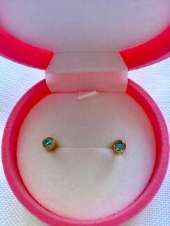 Girls Aquamarine Gold Plated stud Earrings Last one X Market stoc