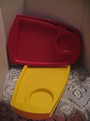 Fremware Plastic Snack Plates Set of 4 Red & Yellow Trays No. 808
