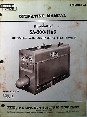Lincoln Sa-200 Dc Gas Engine Welder Owner Parts Service Manual Pipeliner 1968