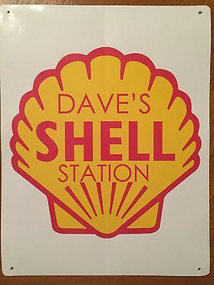 Tin Sign Vintage Custom Shell Gas Station Motor Oil (Your Name)