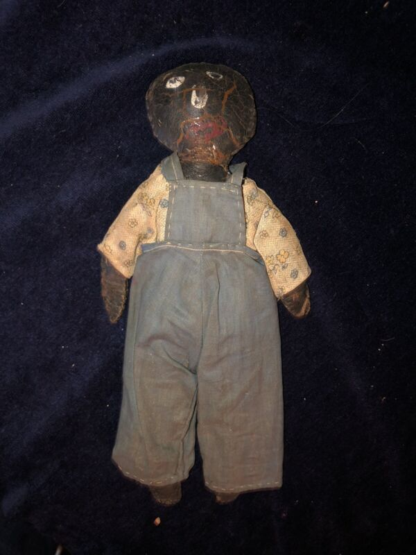 Primitive, 1800's Folk Art Slave Doll, Cotton Stuffed Leather, Found In A Wall!
