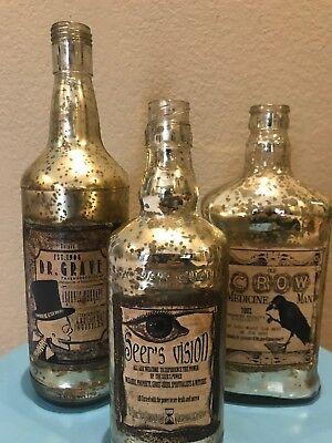Bethany Lowe Halloween Large Mercury Glass Poison Bottles—Retired—Set Of 3
