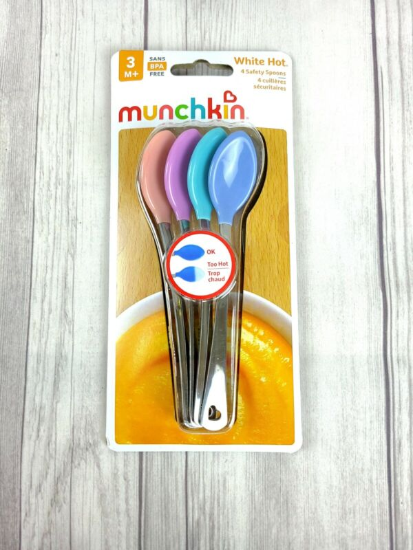 Munchkin White Hot Safety Spoons 4 Ct Sensitive Temperature Phthalate/BPA Free