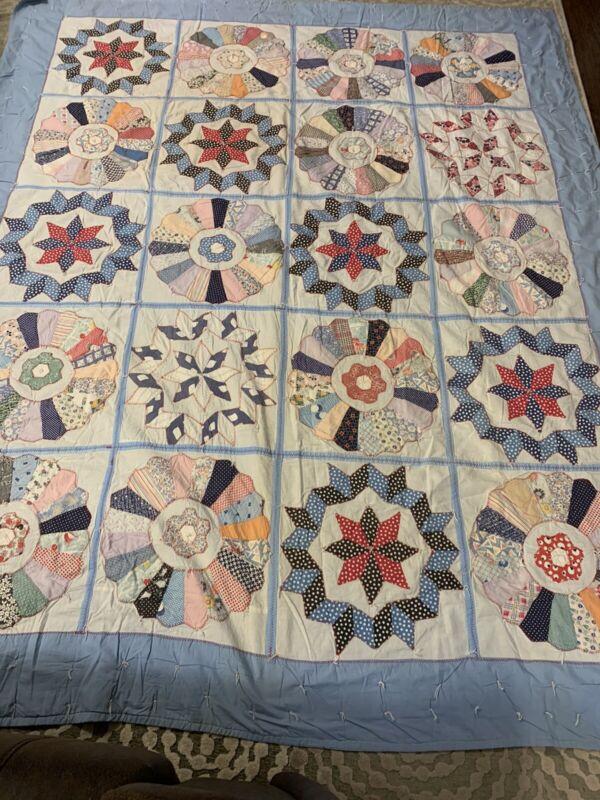 Vintage Handmade Hand Tied Patchwork Comforter Star Quilt 76x85 Machine Quilted