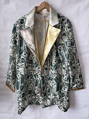 Mens Blazer Multi 100 Dollar Bill Button Money Jacket ONE SIZE COSTUME PIMP