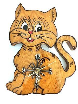 Vintage Cat Kitten Wall Clock Handmade Wood Cute