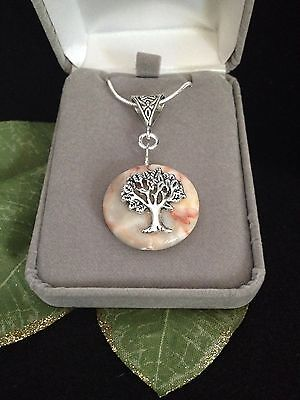 Tree of Life Natural Agate Gemstone Pendant Necklace Sterling Silver 18