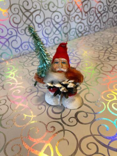 Vintage Christmas Pinecone Elf Gnome Spun Cotton Putz & Mica Ornament Japan