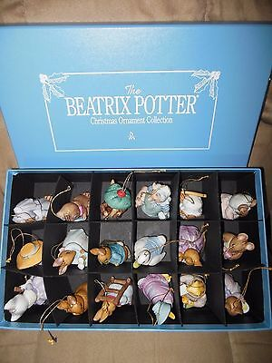 Complete! RARE SET! 18 Ornaments original box Beatrix Potter F W Co Warne MINT!