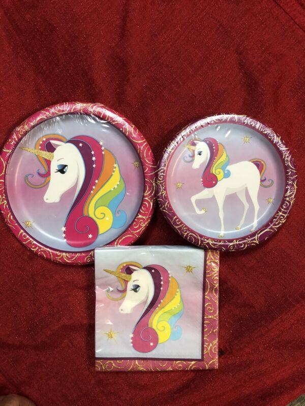 Birthday Party Kit Girls Unicorn PAPER PLATES & NAPKINS - 58 Pc