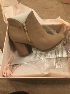 Taupe Gwynn Bootie with gold side zipper