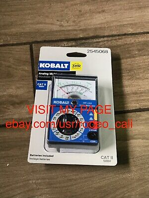 Kobalt Analog Multimeter Cat 2 500v -new-