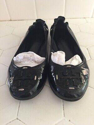 Tory Burch Size 7 Reva Black Patent Leather Ballet Flats Shoes LEATHER LOGO (Tory Burch Black Patent Leather Reva Flats)