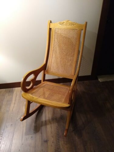 Vintage Empire Furniture Lincoln Sewing Rocker Caned Rocking Chair