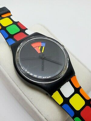 Swatch Watch 1991 Color Window GB715 Used Runs Slow