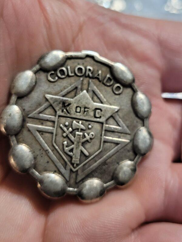 MEDAL VINTAGE KNIGHTS OF COLUMBUS COLORADO STERLING BLIC K OF C HEAVY