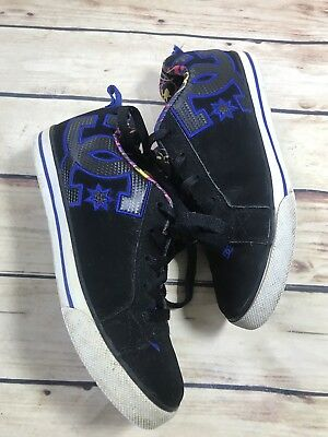 - DC Skate Shoes Sneakers Size 7 Black Blue SUEDE Leather Casual Comfort Lace Up