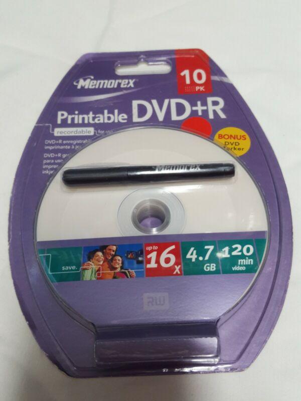 10 Pack Memorex Printable DVD+R + Marker  16x 4.7GB 120min
