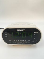 Sony Dream Machine ICF-C318 Automatic Time Set Dual Alarm Clock Radio White
