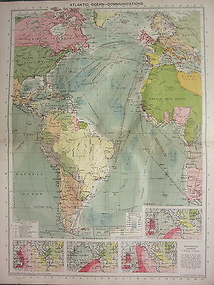 1940 MAP ~ ATLANTIC OCEAN COMMUNICATIONS ISOCHRONIC CHARTS ROUTES CABLES