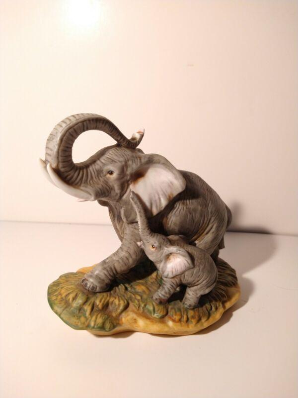 HOMCO Endangered Elephant Porcelain Figurine Mom And Baby