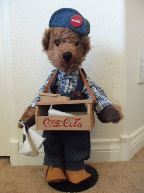 Retired Franklin Mint SAMMY Coca Cola Heirloom Collector Teddy Bear with stand
