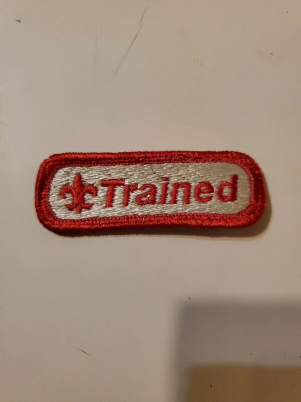 """OFFICIAL BSA """"TRAINED"""" PATCH (Red, Tan) - Boy Cub Scouts - Embroidered"""