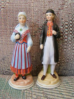 Swedish figurines Ljung porcelain pair in folk costumes Ostergotland - Costumes In Pairs
