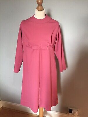 Vintage Pink Ribbed Handmade Dress With Bow Detail Size 10 12