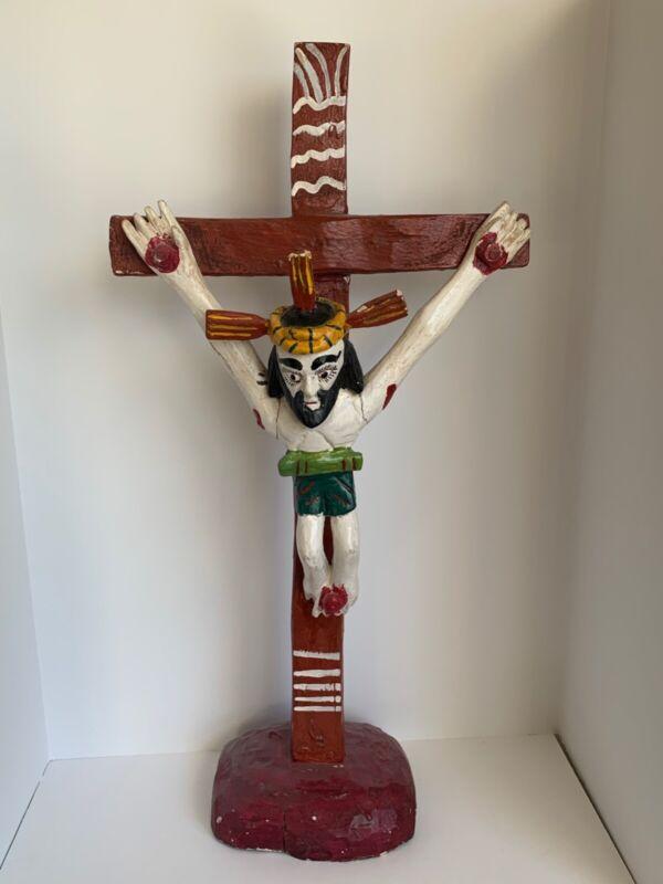 "Vintage Mexican Folk Art Primitive 25"" Tall Wood Carved Crucifix, Jesus, Cross"