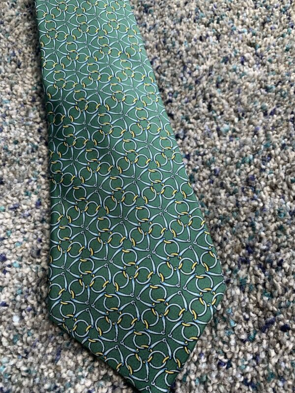 Hermes Vintage Tie. Authentic. Green And Yellow Pattern