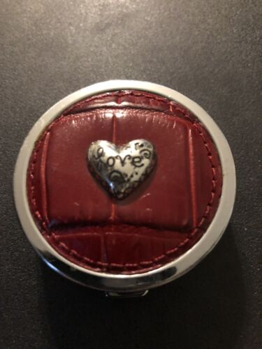 "Brighton 2.1/8"" Pill Box Red Leather Love Charm Two Sectio"
