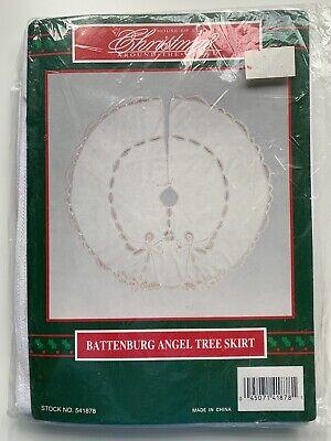 HOUSE OF LLOYD Vintage BATTENBURG Christmas Angel Tree Skirt Old Stock Sealed
