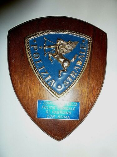 POLIZIA STRADALE Italian State Highway Road Police wood wall hanging badge