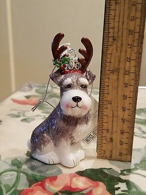 KURT S. ADLER Christmas Schnauzer With Antlers Glass Ornament Noble Gems NEW