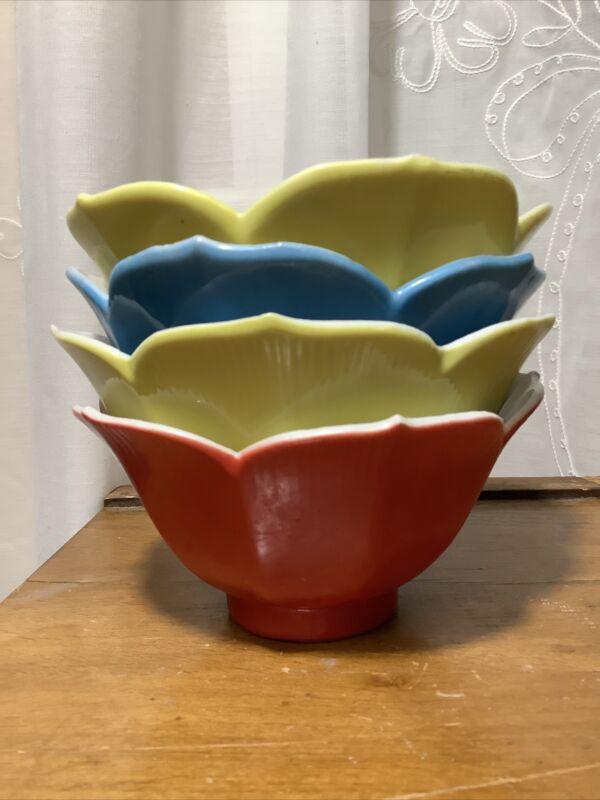 4 Vintage Lotus Flower Porcelain Rice Dessert Bowls, Japan Made, 3 Colors