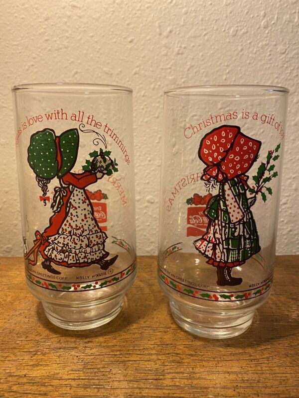 """Set Of 2 Holly Hobbie Coca Cola Limited Edition Christmas Glasses Tumblers 6"""""""