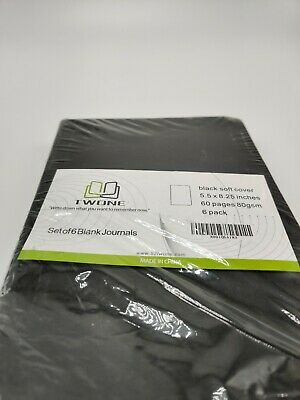 "Qty = 1 Pack of 6: Twone Black Soft Cover Travel Journal 5.5"" x 8.25"" 60 Page"