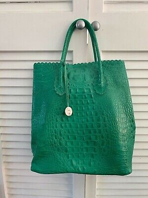 Furla Italy Crocodile Embossed Leather Handbag Green Purse Bag – FREE SHIPPING
