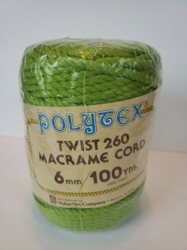 Vintage Polytex Macrame Braided Cord NEW NOS Lime Green 100 yards 6 mm